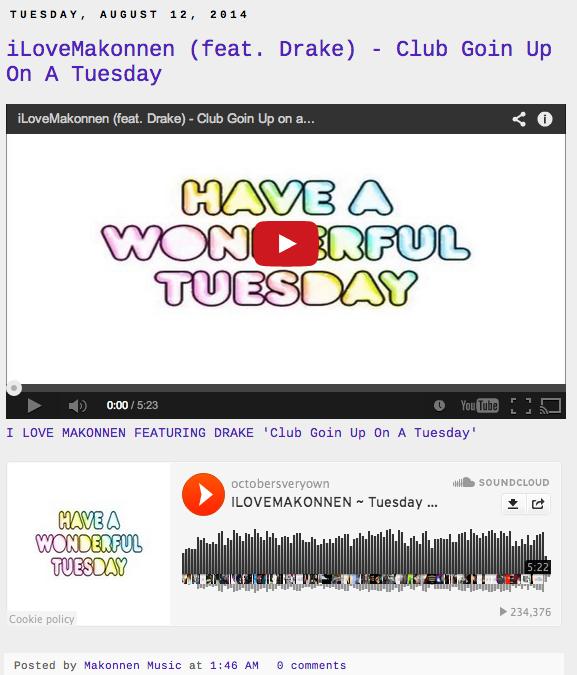 ILoveMakonnen Posts Drake Tuesday Remix